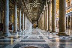 Interior view of Papal Basilica of St. Paul outside the Walls Stock Photo