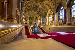 Interior view of Parliament Building in Budapest. The building was completed in 1905 and is in Gothic Revival style. Stock Images
