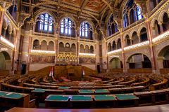 Interior view of Parliament Building in Budapest. The building was completed in 1905 and is in Gothic Revival style. Stock Image