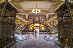 The Postal palace Palacio Postal, a post office built at the beginning of the 1900s in Mexico City. An interior view of the Postal Palace Palacio Postal, a turn royalty free stock photography