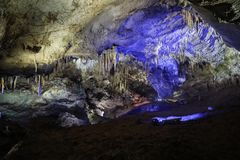 Interior View of Prometheus Cave with Lights royalty free stock photography