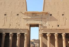 Interior view of a pylon of Edfu. The Temple of Edfu, Egypt. Royalty Free Stock Image