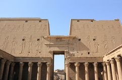 Interior view of a pylon of Edfu. The Temple of Edfu, Egypt. Royalty Free Stock Photography