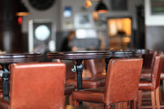 Interior view  of a restaurant. In the afternoon Royalty Free Stock Images