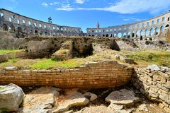 Interior view of the Roman amphitheater, Pula, Croatia royalty free stock photos