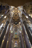 Interior view of Sagrada Familia Stock Photos