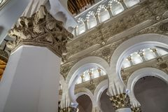 Interior view of Saint Mary The White Synagogue in Toledo Stock Photography
