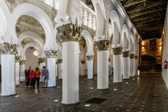Interior view of Saint Mary The White Synagogue in Toledo Royalty Free Stock Photography