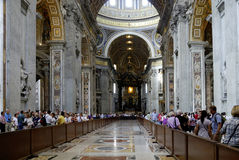 Interior view of the Saint Peters Basilica in Rome Stock Images