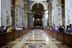 Interior view of the Saint Peters Basilica in Rome Stock Photo