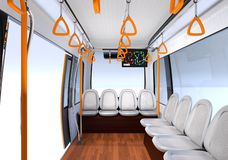 Interior view of self-driving shuttle bus. 3D rendering image vector illustration