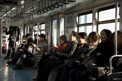 Interior View Of Seoul Metropolitan Subway Train Stock Photo