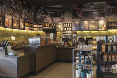 Interior view of the Starbucks Coffee coffeehouse. Royalty Free Stock Photo
