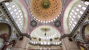 Interior view in Suleymaniye Mosque in Istanbul, Turkey stock footage
