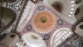 Interior view in Suleymaniye Mosque in Istanbul, Turkey stock video