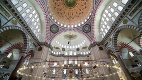 Interior view in Suleymaniye Mosque in Istanbul, Turkey stock video footage