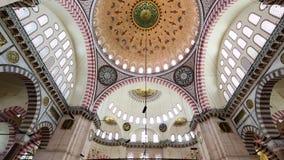 Interior view in Suleymaniye Mosque in Istanbul, Turkey stock video