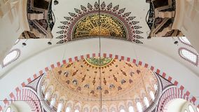 Interior view in Suleymaniye Mosque in Istanbul, Turkey stock footage