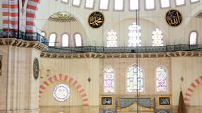 Interior view in Suleymaniye Mosque in Istanbul stock video