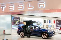 Interior view of a Tesla selling center displaying Modle X stock photo
