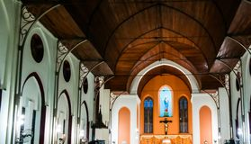Interior view to Basilica of the Immaculate Conception at Ouidah stock photography