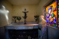Interior view of a tomb with stained glass at the La Recoleta Cemetery Stock Image