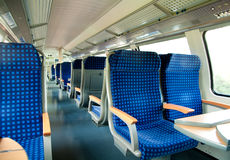 An interior view of a train Stock Photo