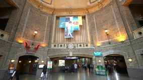 Interior view of the train station stock video footage