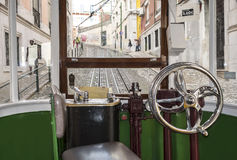 Interior view of a tram cockpit. Stock Image