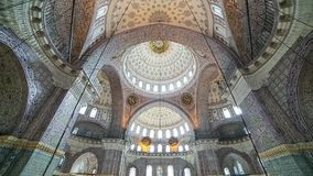 Interior view of Valide Sultan (New) mosque in Fatih, Istanbul stock footage