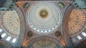 Interior view of Valide Sultan (New) mosque in Fatih, Istanbul stock video footage