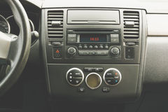 Interior view of vehicle. Modern technology car dashboard close up. Climate cont royalty free stock photos