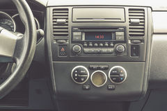 Interior view of vehicle. Modern technology car dashboard close up. Climate stock photos