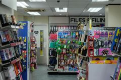 Interior view of a well known book and newsagents showing the variety of products on display. stock photography