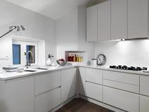 Interior view of a white  modern kitchen Stock Image