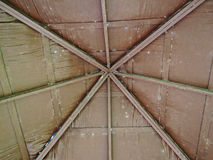 Interior view of a wooden roof structure Royalty Free Stock Photo