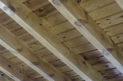 Interior view of a wooden roof structure Stock Photo
