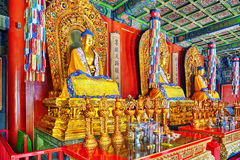 Interior view of Yonghegong Lama Temple.Beijing. Lama Temple is Stock Photo