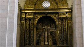 Interior views of a local church in Lisbon, Portugal stock footage