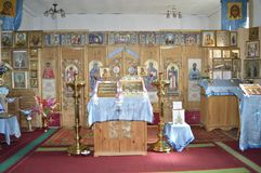 interior of a village church. Russia. Siberia royalty free stock photo