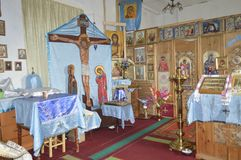 Interior of a village church. Russia. Siberia stock images