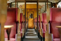 Old train carriage, yorkshire, england. Interior of vinitage train carriage on the north york moors train line, yorkshire, uk Stock Photography