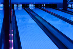 Interior of vintage bowling hall Stock Photography