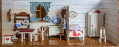 Interior of vintage doll house royalty free stock photography