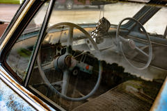 Interior of vintage driver& x27;s education car stock images