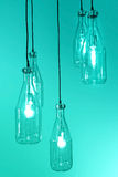 Interior of vintage hanging bulb light on blue Stock Image