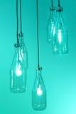 Interior of vintage hanging bulb light on blue Stock Image