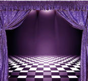 Interior with violet curtains and checkerboard floor Stock Photography