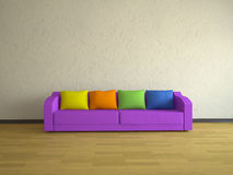 Interior with violet sofa Royalty Free Stock Photography