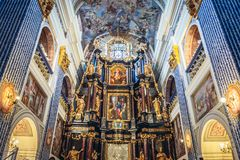 Sanctuary in Swieta Lipka. Interior of Visitation of Blessed Virgin Mary Basilica in Swieta Lipka village, Poland Royalty Free Stock Images
